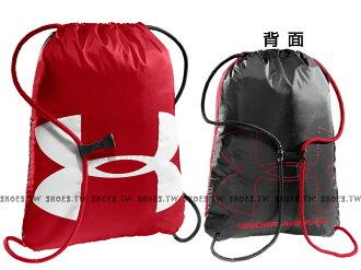 Shoestw【1240539-600】UA 束口袋 鞋袋 雙面背 大LOGO 防潑水 紅白/灰