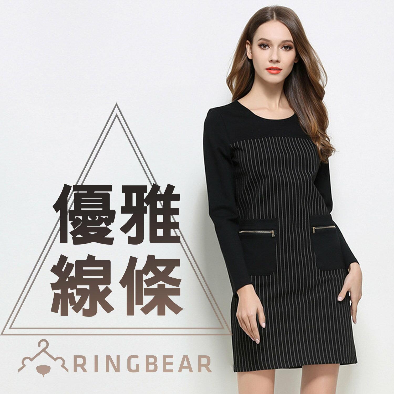 長袖洋裝--優雅氣質線條拼接設計貼式拉鍊口袋圓領連身裙(黑XL-3L)-A321眼圈熊中大尺碼 0
