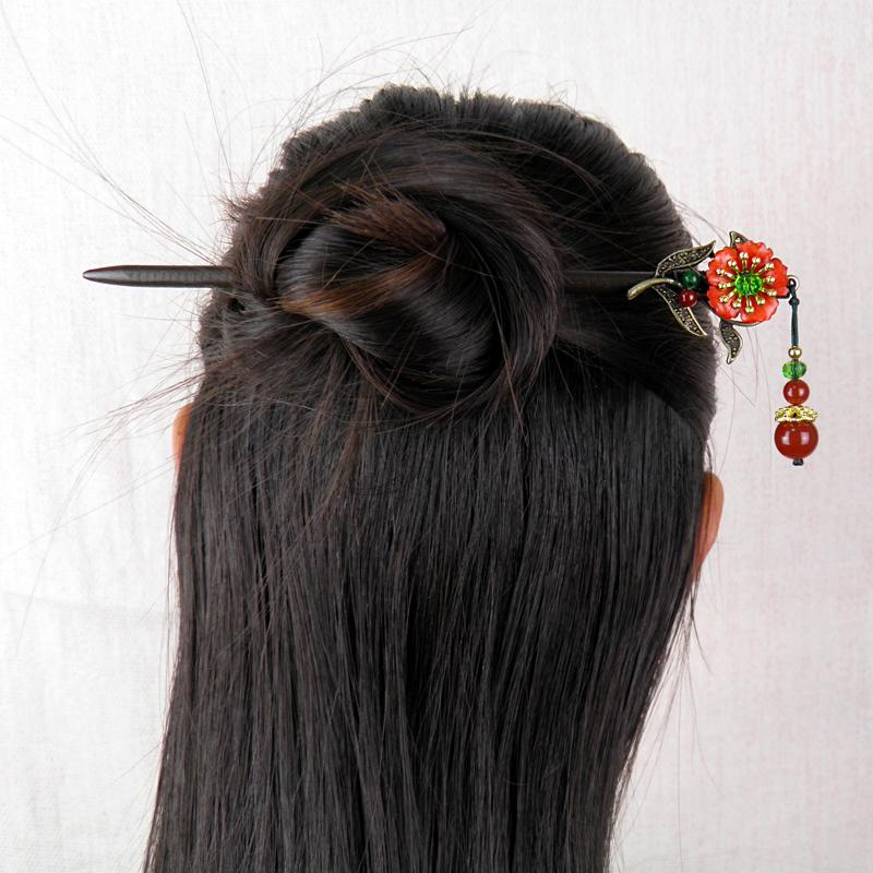 氣質景泰藍中國結耳墜女復古風古典宮廷耳環民族風琉璃耳飾品1入