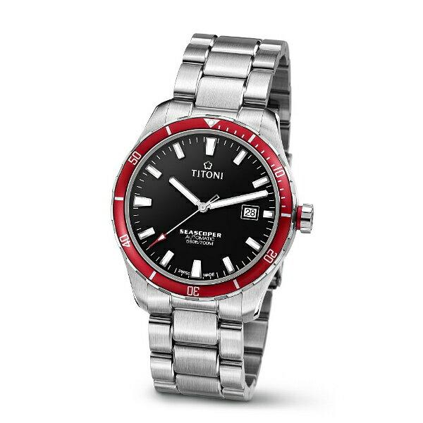 TITONI瑞士梅花錶83985SRB-517 Seascoper系列專業潛水機械腕錶/黑面41mm