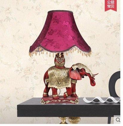 歐式大象書房臥室檯燈床頭燈創意家居裝飾品紅色擺件結婚禮物