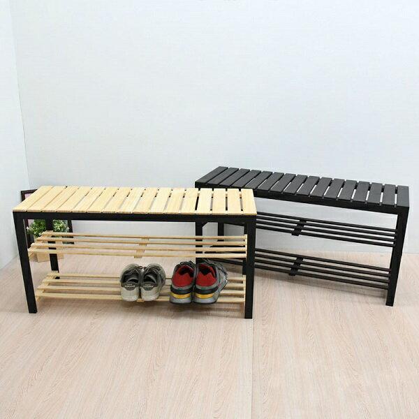 日系松木穿鞋椅 90cm 鞋架 鞋櫃 實木穿鞋椅 置物架 椅子 台灣製 | 喬艾森