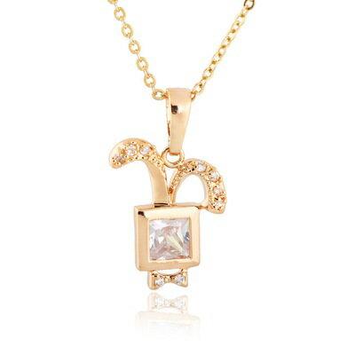 ~純銀項鍊 鍍18K金鑲鑽吊墜~可愛方形兔子氣質七夕情人節 女飾品2色73cu151~ ~