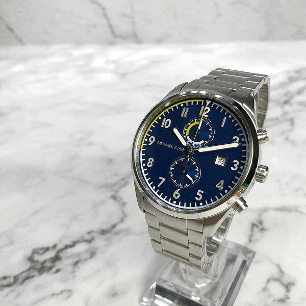 美國百分百【MichaelKors】手錶MK8574男錶MK不鏽鋼雙眼禮盒專櫃配件藍面銀色J036