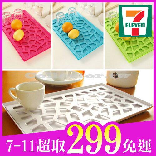 【7-11超取299免運】韓版創意時尚托盤 塑料鏤空置物盤 雙層瀝水收納架 水果盤