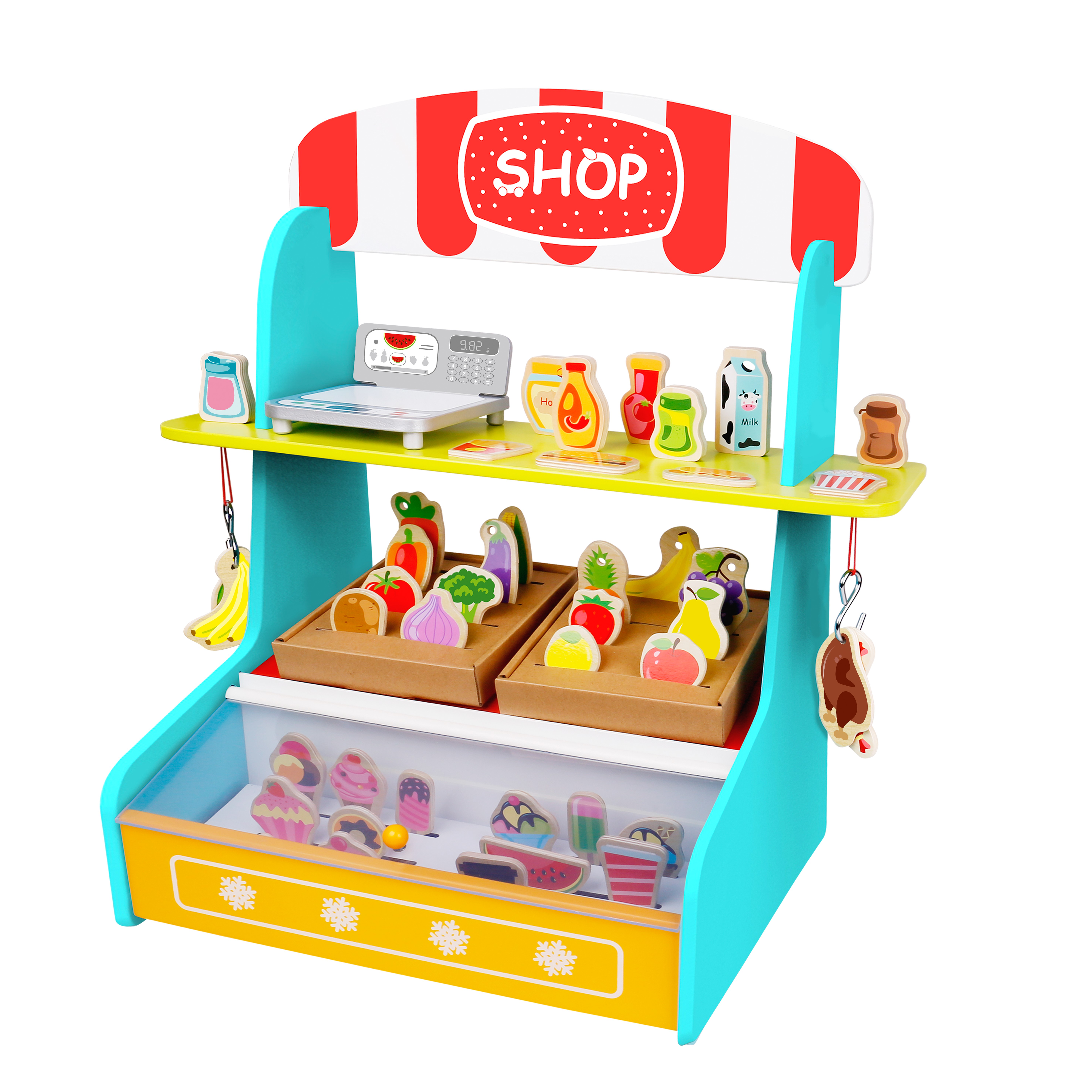 Toyster\'s My Play Shop Wooden Grocery Store Stand | Pretend Play Kitchen  Workshop for Toddler Girls and Boys | Farmers Market Lemonade Wood Toy ...