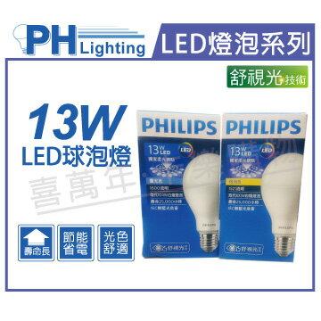 PHILIPS飛利浦 LED 13W 6500K 白光 E27 全電壓 舒適光 球泡燈  PH520364