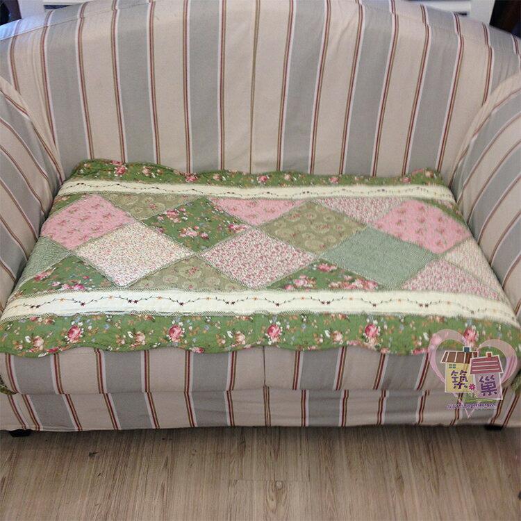 棉質菱格繡小花(綠)拼布沙發墊/萬用墊-單人70x70/兩人70x150/三人70x180/加長70x210