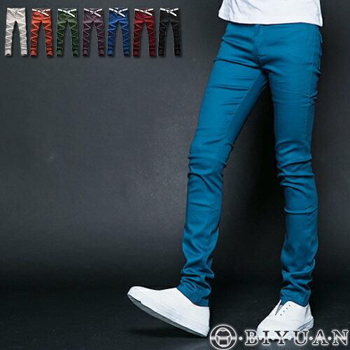 工作褲【ST88038】OBI YUAN韓版馬卡龍翻蓋鈕扣彈力窄版休閒褲共6色