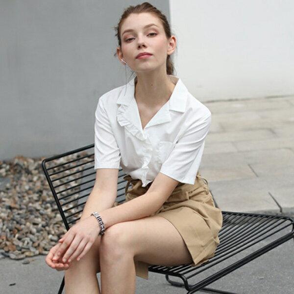 荷葉邊翻領法式短袖白襯衫上衣【92-12-81828-18】ibella艾貝拉