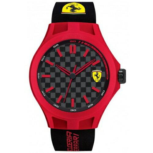 FERRARI Pit Crew 時尚賽車經典紅框款橡膠帶腕錶/0830194