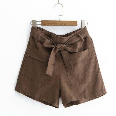 女裝繫帶蝴蝶結棉麻闊腿休閒褲短褲樂天時尚館。預購。[全店免運]