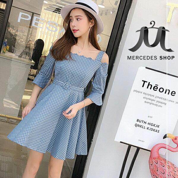 《全店75折》一字領露肩喇叭袖收腰顯瘦連身裙高腰大擺短袖洋裝(S-XL,3色)-梅西蒂絲(現貨+預購)