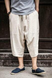 FINDSENSEMD日系潮男時尚棉麻亞麻簡約休閒寬鬆大尺碼休閒褲七分褲
