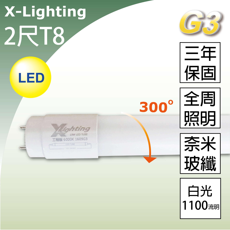 暫缺 3年保LED T8 2尺奈米玻纖燈管(白光)全周光 EXPC X-LIGHTING (10w 20w 22w)