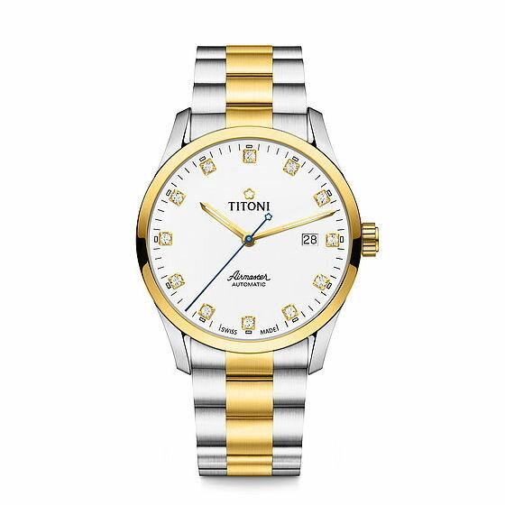 TITONI瑞士梅花錶空中霸王系列83743SY-582單鑽大方機械腕錶金銀39mm