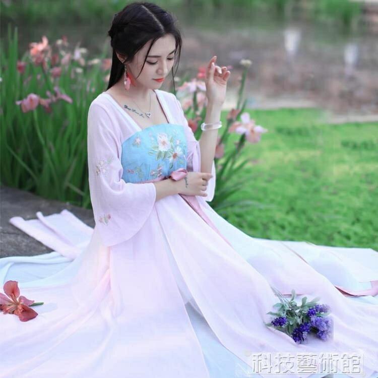 漢服女夏裝中國風套裝仙女古裝飄逸清新淡雅改良日常裝古風連衣裙  領券下定更優惠