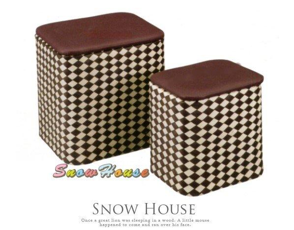 ╭☆雪之屋居家生活館☆╯@特價優惠@AA505-09B041葡萄紫收納箱(紫白色菱格方型)收納櫃方形收納櫃椅凳