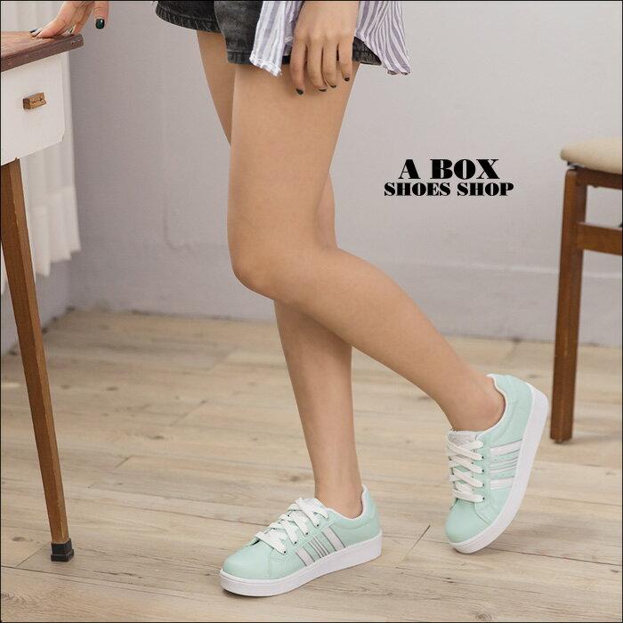 【KD8672】MIT台灣製 校園舒適時尚 馬卡龍撞色皮革 繫帶運動休閒鞋 3色 1