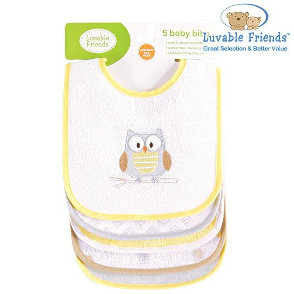 美國 Hudson Baby/Luvable Friends 嬰幼用品 口水巾/圍兜兜 (五件組) - 黃色貓頭鷹