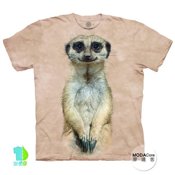 【摩達客】(預購)美國進口TheMountain微笑狐獴像純棉環保藝術中性短袖T恤