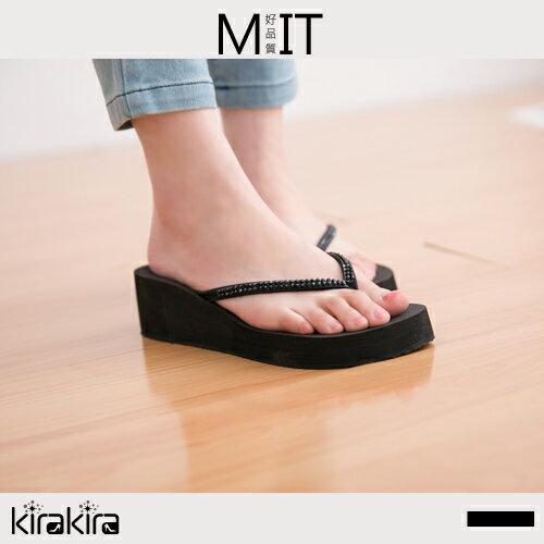 夾腳拖鞋  SALE 韓系簡約奢華水鑽楔型夾腳拖鞋-預購