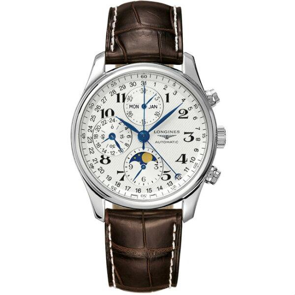 LONGINES浪琴表L26734783巨擘全日曆月象多功能計時腕錶白網紋面40mm