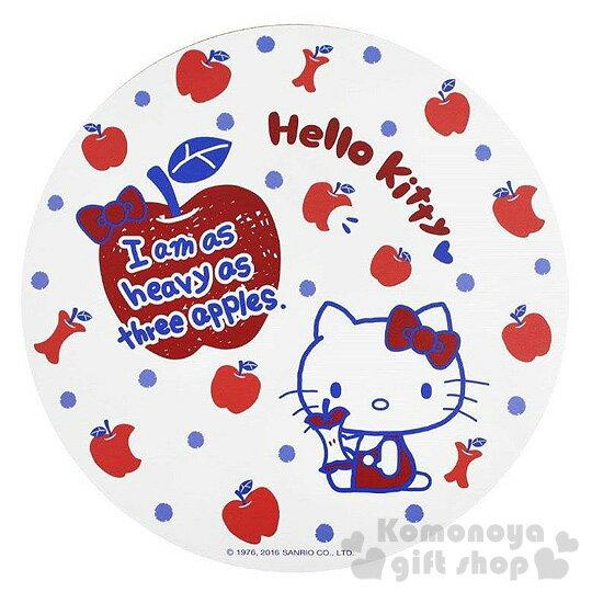 〔小禮堂〕Hello Kitty 圓形木製隔熱墊《M.白.側坐.蘋果.點點》可隔熱又環保兩相宜
