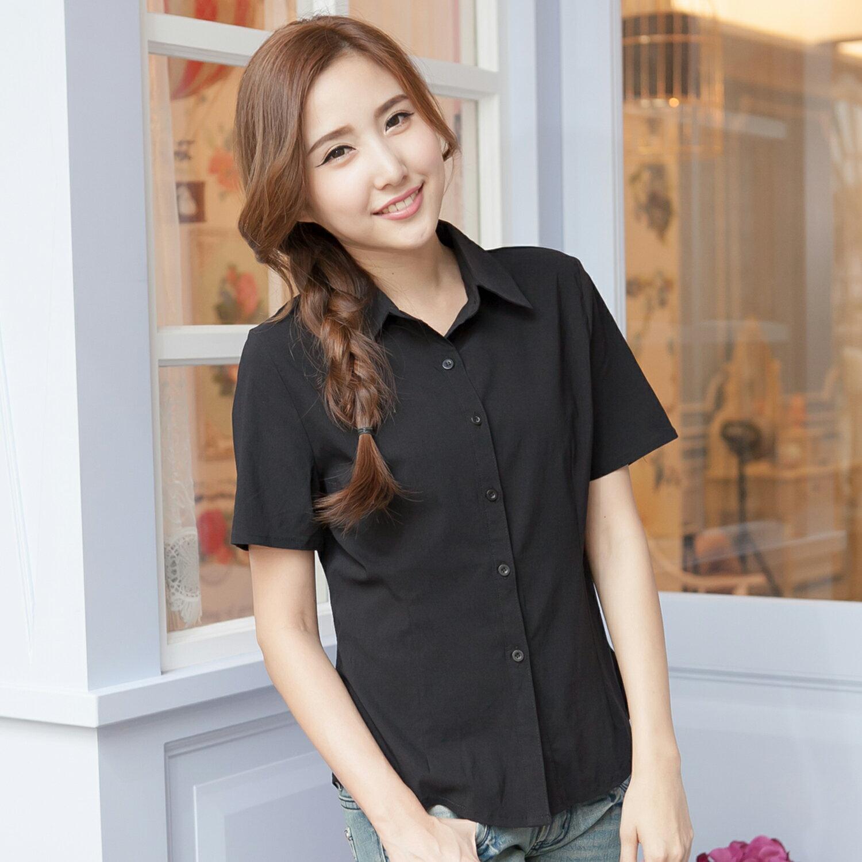 襯衫--專業百搭公主車線修身設計素面短袖襯衫(白.黑S-4L)-H161眼圈熊中大尺碼 1