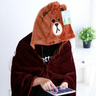 正版熊大披肩毯 帽毯 刷毛毯 保暖被 毛毯 懶人毯 冷氣毯 毯子 LINE 熊大【B062287】