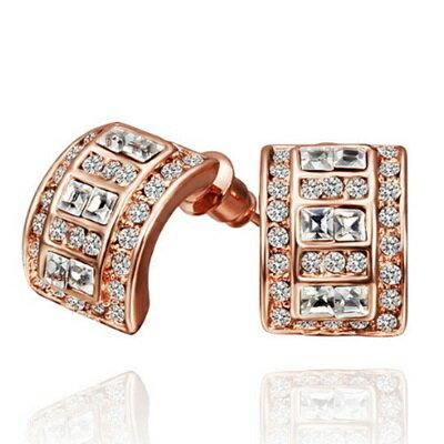 純銀耳環鍍18K金水晶耳飾~古典氣質鑲鑽精美情人節生日 女飾品3色73cg224~ ~~米
