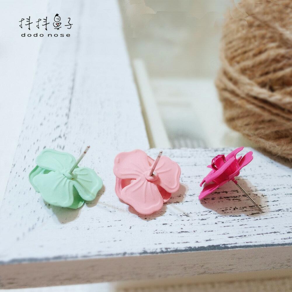 亮鑽玻璃球花朵耳環(3色) 6