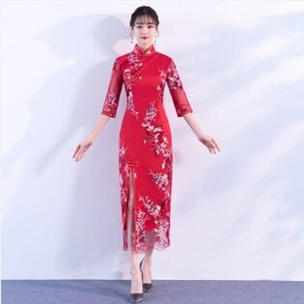天使嫁衣【IU702】大紅色剌繡紗緞底前開叉中式長旗袍˙預購訂製款