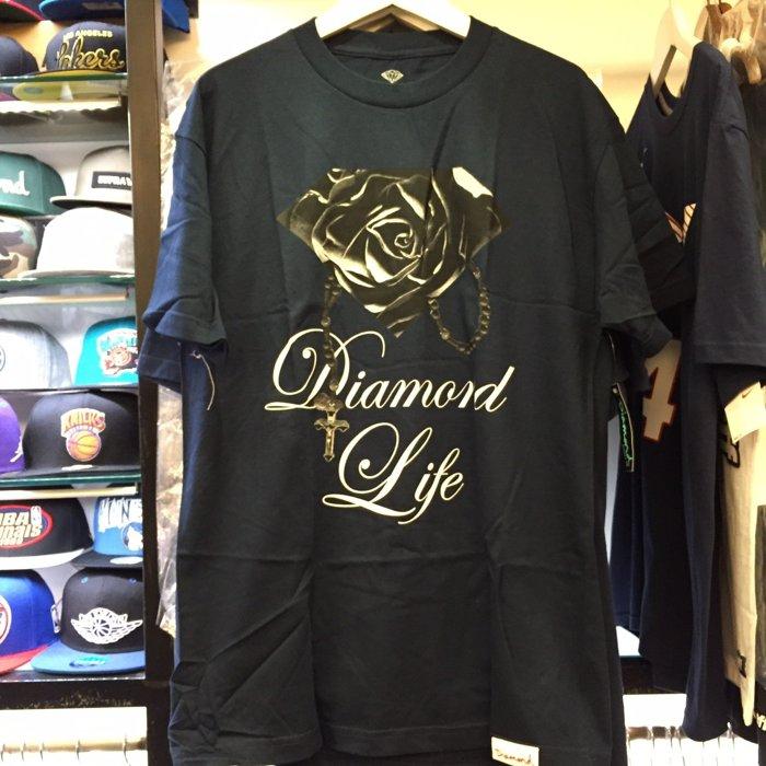 BEETLE PLUS 西門町 全新 DIAMOND SUPPLY CO ROSE BRILLIANT 玫瑰 鑽石 項鍊 深藍 TEE 短T D14DPA69NVY DA-11 - 限時優惠好康折扣