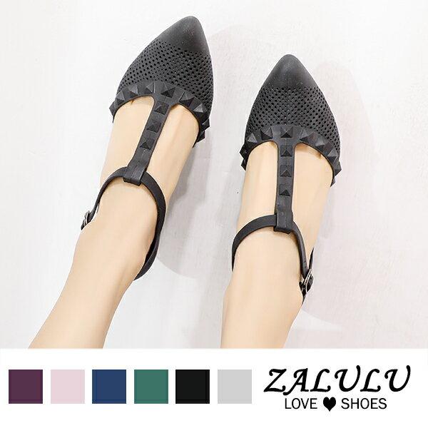 8U336 現貨+預購 個性鉚釘T字帶楔形鞋-黑 / 灰 / 藍-36-39【ZALULU愛鞋館】 1