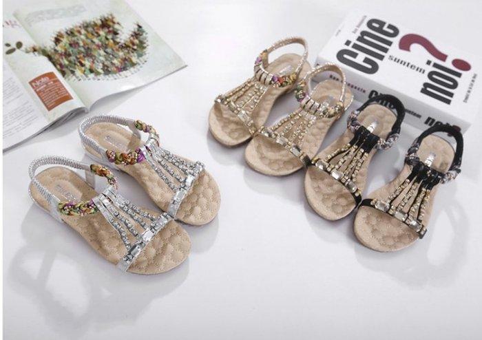 Pyf ? 新款 女神波西米亞彩色編織涼鞋 水鑽鬆緊帶 沙灘鞋 42 大尺碼涼鞋