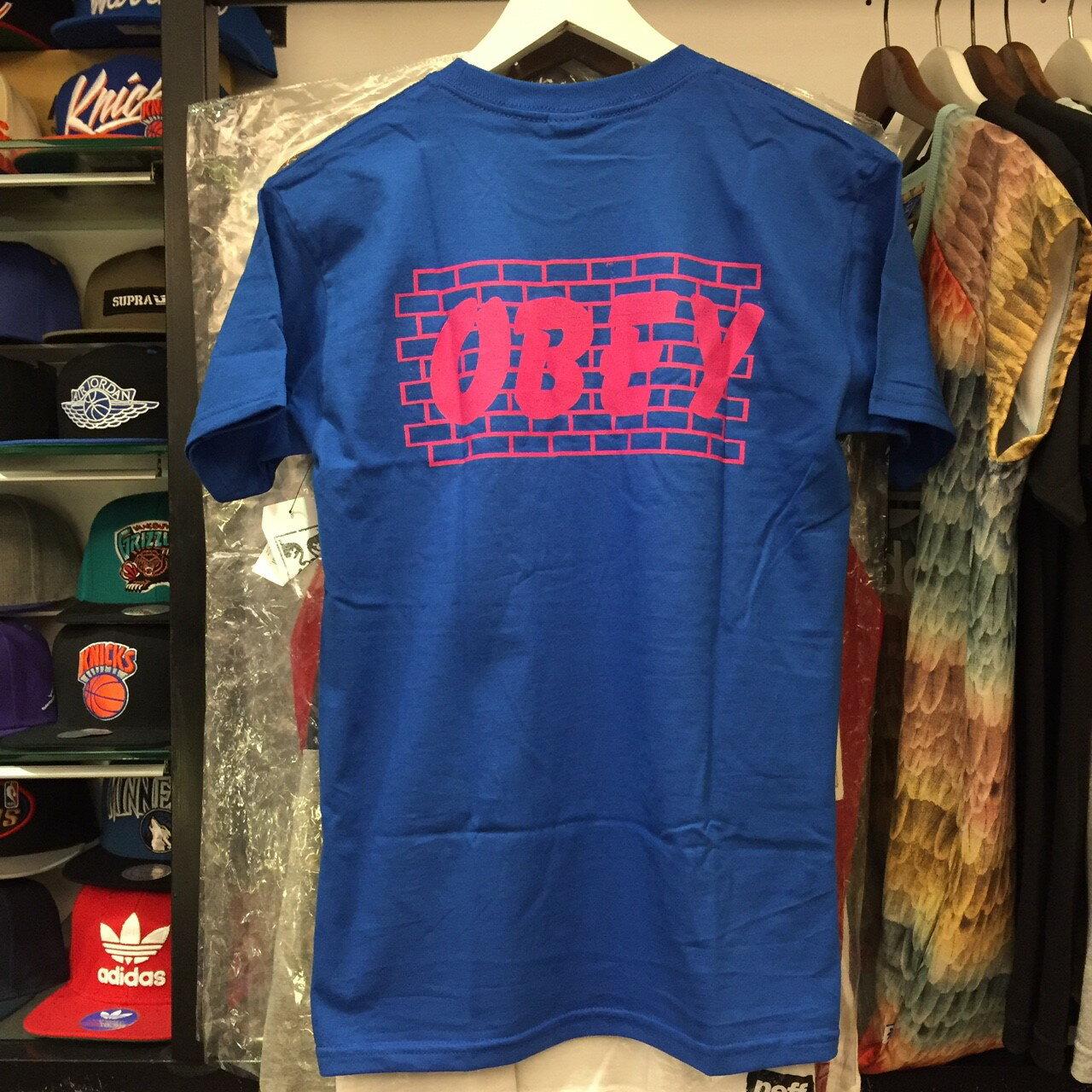 BEETLE PLUS 西門町經銷 全新 美國品牌 OBEY BRICK WALL TEE 磚牆 寶藍 白字 藍白 LOGO 短T TEE 163081179ROY OB-419 2