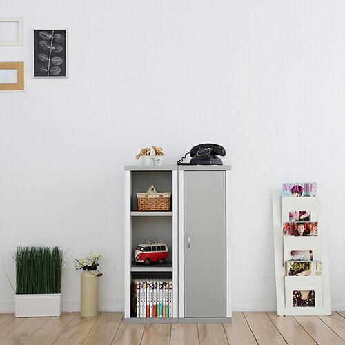 一加一組合《Accessco》日系雙色六格附門厚板收納書櫃﹝亮銀白﹞
