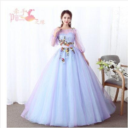 天使嫁衣【HU002】淺藍透粉紫華麗優雅立體花片長袖齊地禮服˙預購客製款