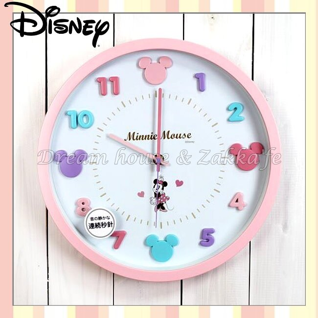 日本正版 Disney 迪士尼 米妮 Minnie 粉紅 掛鐘/時鐘《 靜音無聲連續機芯 》★ 簡單時尚可愛 ★ 夢想家精品家飾