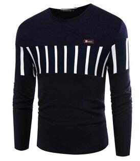 FINDSENSEZ1日系流行男時尚大碼圓領拼色條紋加厚保暖長袖T恤上衣特色長T