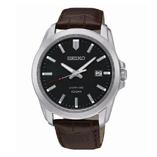 新年特惠4折起  SEIKO CS紳士品味男腕錶/黑面x咖皮/SGEH49P2(7N42-0GD0C) 情人節寵愛禮