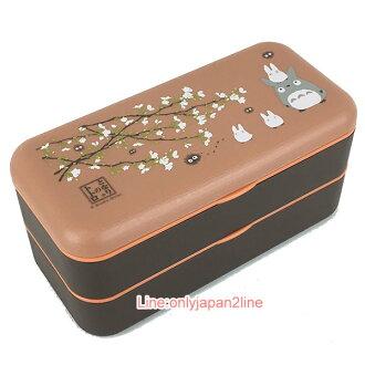 【真愛日本】17030300001日本製雙層長方便當盒-龍貓櫻花  龍貓 TOTORO 豆豆龍 貓公車 餐盒 野餐盒 正品