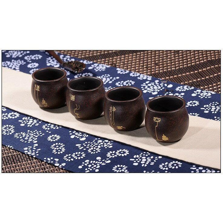 【紅芳庭】禪淨杯 紫砂杯 / 原礦紫砂 黑朱泥 雕刻 鎏金 純正土胎 手工 茶壺 茶具【一組四支】