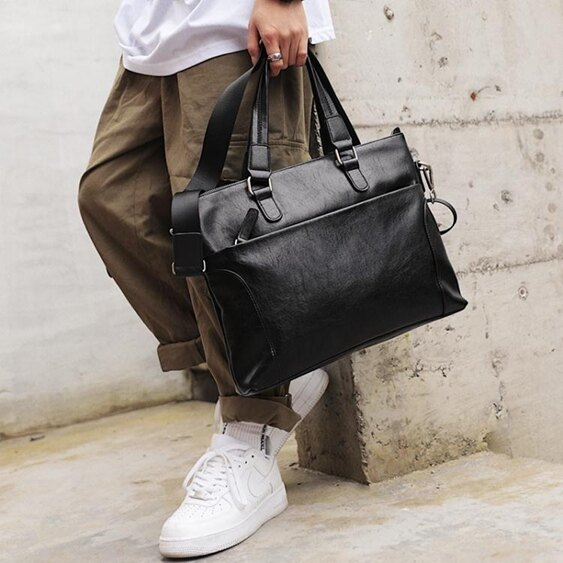 新款男包商務男士手提包公文包出差側背包電腦包文件包斜背包潮 韓國時尚週