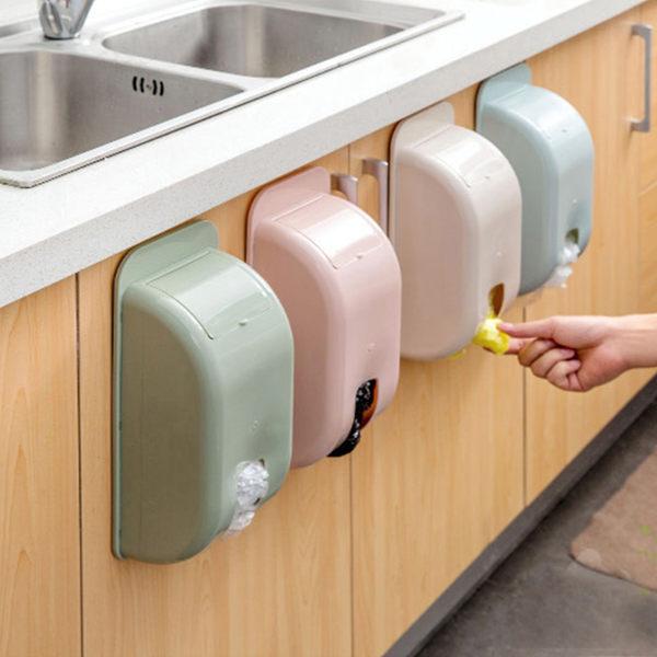塑料多用途壁掛式收納盒廚房衛浴垃圾袋塑料袋衛生紙快取收納盒【庫奇小舖】