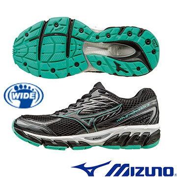 J1GD164209(黑X黑X綠)扁平足專用鞋款 WAVE PARADOX 3(W) WIDE 寬楦女慢跑鞋 A【美津濃MIZUNO】