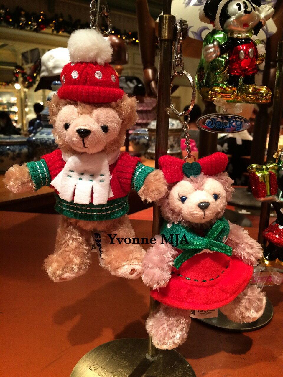 *Yvonne MJA香港代購*香港迪士尼Disney限定正品Duffy達菲熊雪莉玫Shelliemay耶誕版站姿吊飾