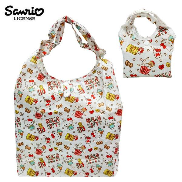 白色款【日本正版】凱蒂貓摺疊購物袋環保袋手提袋防潑水HelloKitty三麗鷗Sanrio-466886
