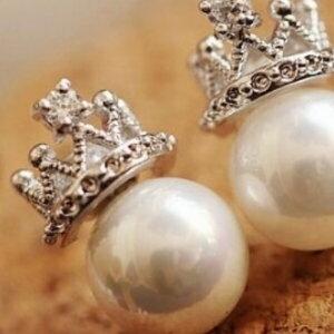 美麗大街【GE408】韓國滿鑽精緻皇冠珍珠耳釘微鑲鋯石耳飾耳環